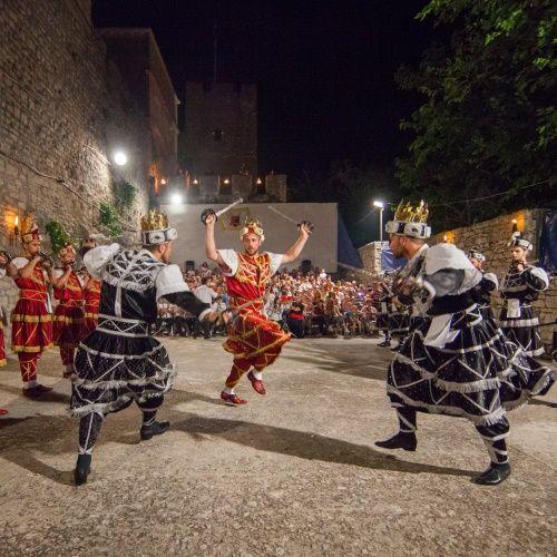 Battle scene during a traditional Moreska dance show on the island of Korcula in Croatia.