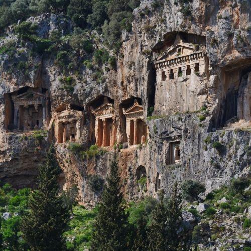 The ancient rock tombs of Dalyan Caunus in Turkey