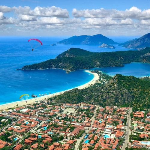 Paragliding take-off from Babadag with panoramic view of Oludeniz in Fethiye in Turkey