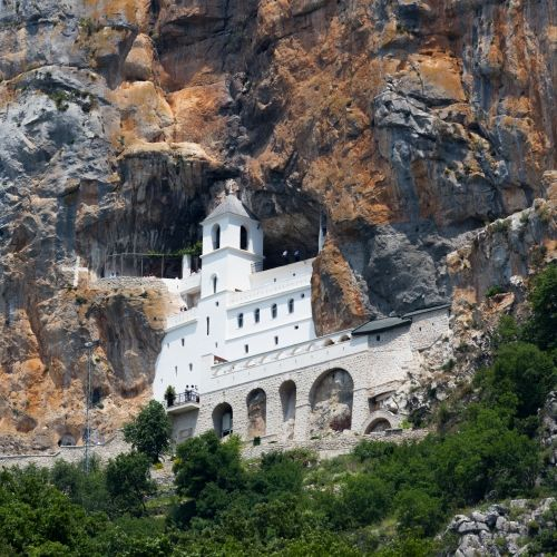 The spectacular Ostrog Monastery and place of pilgrimage in Montenegro