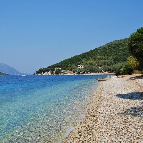 A small picturesque cove on the island of Meganissi in the Ionian Islands in Greece