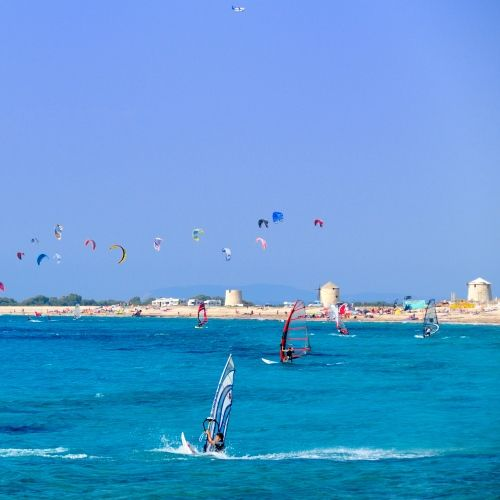 Windsurfing, kite-surfing and other water sports in Vasiliki on the island of Lefkada in Greece