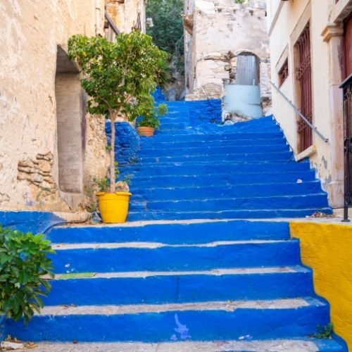 The blue staircase of Symi with its 500 steps from Gialos to Horio