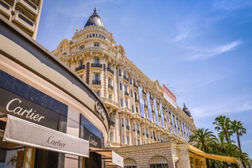 Cartier boutique and Carlton hotel on La Croisette in Cannes
