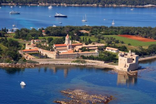 A superb panorama of the Abbey of Lérins on the Ile Saint-Honorat in Cannes