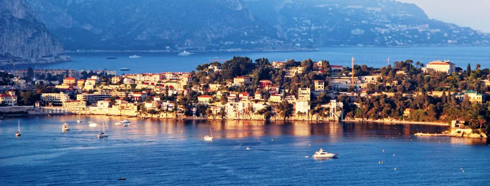 The peninsula of Sain-Jean-Cap-Ferrat with boats at anchor on the French Riviera