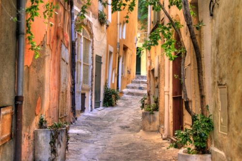 A tiny street in St Tropez in the summer