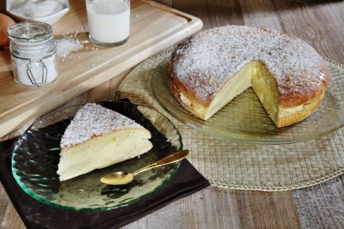 A slice of Tropezian tart, the pastry speciality of St Tropez