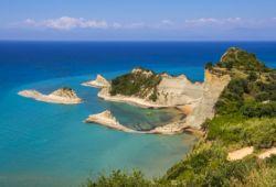 The rocky coast of Cape Drastis in the north of Corfu Island