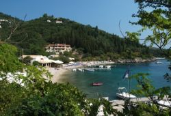 The traditional taverna of Nikolas in Agni Bay in Corfu on a beautiful summer day
