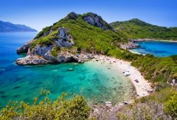 The beach of Porto Timoni with its two bays, one of the best things to do in corfu