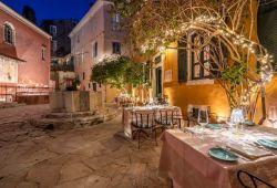 The beautiful historic Venetian Well restaurant located in Corfu