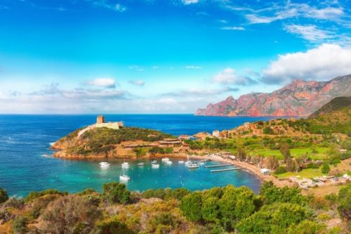 The bay of Girolata is one of the most beautiful anchorages for a yacht charter in Corsica