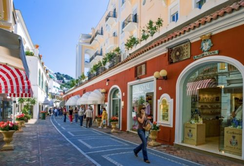 A shopping street on the island of Capri
