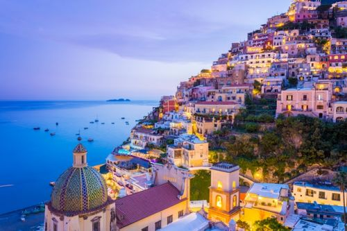 Night panorama of the village of Amalfi in Italy