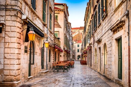 A picturesque street in the old town of Dubrovnik in Croatia