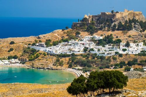The island of Rhodes in Greece, famous for its historic monuments and beautiful beaches