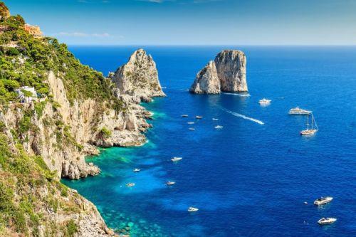 The rock formations of the Faraglioni off the coast of Capri