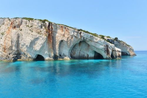 The Blue Caves located on the island of Zakynthos in Greece