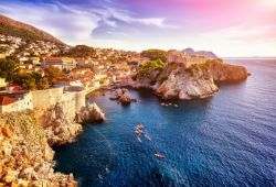 The old city of Dubrovnik and its ramparts seen from the sea