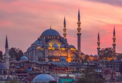 The Ottoman Imperial Süleymaniye Mosque in Istanbul, Turkey, as seen at sunset