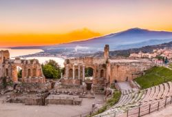 The Theatre of Taormina in Sicily, one of the best Mediterranean yacht charter destinations for the shoulder season
