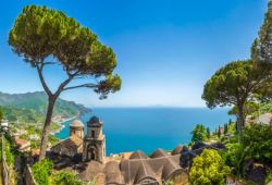 Panorama of the village of Ravello with its bell towers, pine trees and the Mediterranean sea
