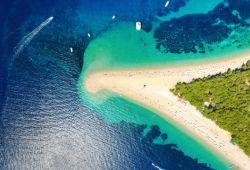 Aerial shot of the gorgeous beach of Zltani Rat in Croatia