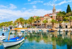 The town of Trogir in Croatia with its small harbour full of fishing boats