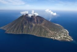 The island of Stromboli in Sicily with fumes emanating from the volcano