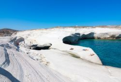 The beach of Sarakiniko and its geological formations on the island of Milos in the Cyclades in Greece