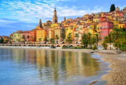 The colourful coastline of Menton in the south of France