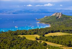 A bay on the island of Porquerolles with some yachts at anchor