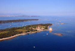 Panorama of the Lérins islands in the bay of Cannes with the abbey of Lérins located on the Saint-Honorat island