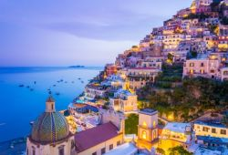 The village of Amalfi seen by night with its little houses lit up