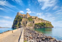 The medieval castle of Ischia located at the northern end of the bay of Naples