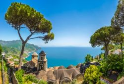 The bell tower of the church in the village of Ravello on the Amalfi Coast