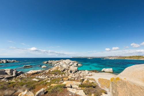 A superb bay with turquoise waters on the island of Cavallo in the Lavezzi archipelago in Corsica