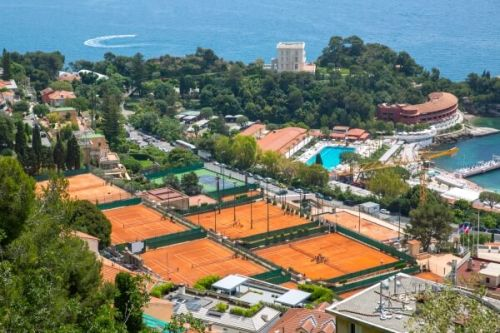 Clay tennis courts in Monaco during the Monte-Carlo Masters