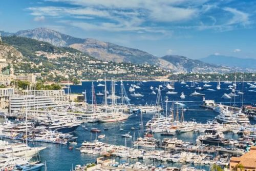 Luxury sales and charter yachts moored in Port Hercule during the Monaco Yacht Show events