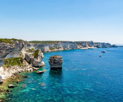Panorama of the cliffs of Bonifacio during a Corsica yacht charter