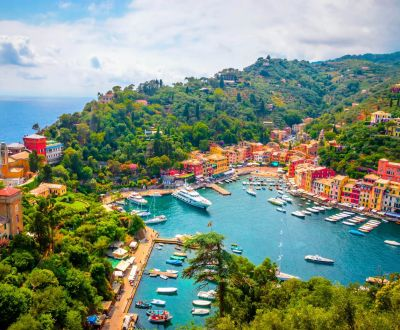 The Portofino marina and its yachts on the Italian Riviera