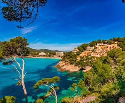 The island of Majorca and the coast of Canyamel during a Balearics yacht charter