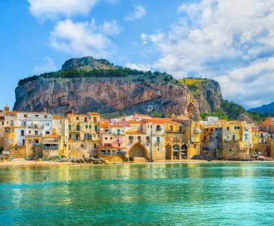 The medieval village of Cefalu as seen during a Sicily yacht charter