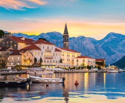 Sunset over the historic town of Perast in the Bay of Kotor during a Montenegro yacht charter