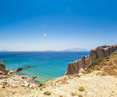 View of Paradise Beach on the island of Kos during a Greece yacht charter in the Dodecanese