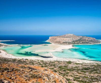 The bay of Balos and its turquoise lagoon on the island of Crete during a Greece yacht charter