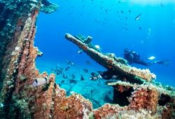 Diver exploring a wreck in the Aegean Sea in Greece