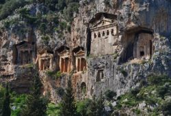 Lycian rock tombs near Fethiye on the Turquoise Coast in Turkey