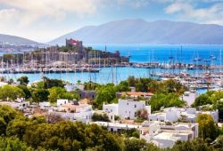 The port and castle of Bodrum in Turkey
